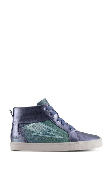 Clarks Lilac Leather Glitter City Myth Boots