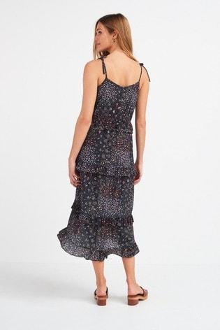 Charcoal Print Ruffle Tiered Dress