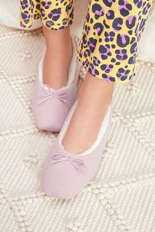 Pink Waffle Ballerina Slippers