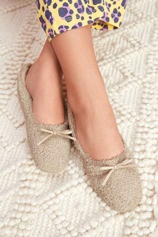 Oatmeal Borg Ballerina Slippers