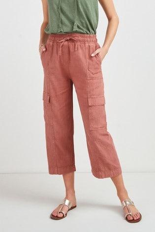 Terracotta Linen Blend Utility Crop Trousers