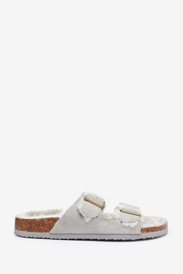 Grey Two Band Suede Slider Slippers