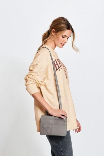 Grey Leather Across Body Bag