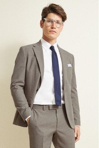 Moss London Slim Fit Neutral Unstructured Suit: Jacket
