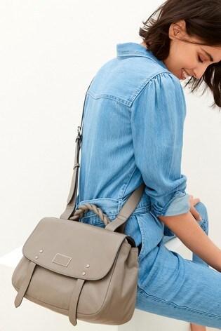 Grey Leather Plait Top Handle Hardware Tote Bag