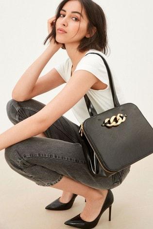 Black Chunky Chain Detail Formal Tote Bag