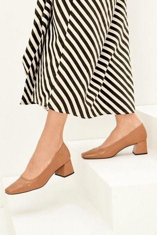 Camel Square Toe Block Court Shoes