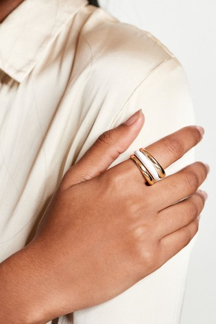 Gold Tone/White Bianco Rings 3 Pack