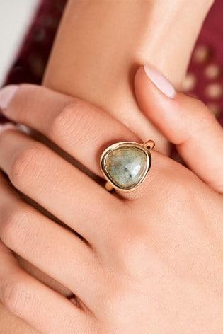 Gold Tone Semi-Precious Stone Ring