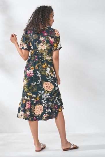 Navy Floral Short Sleeve Wrap Dress