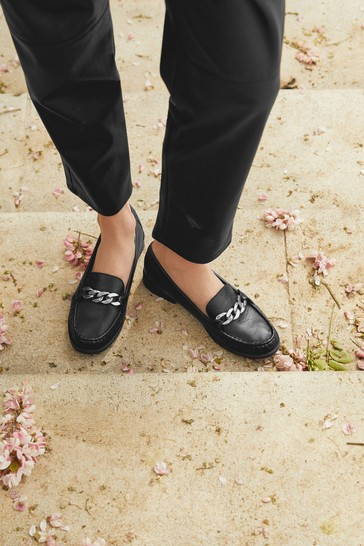 Black Leather Forever Comfort® With Motion Flex Moccasin Shoes