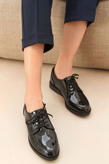 Black Regular/Wide Fit EVA Lace-Up Patent Shoes