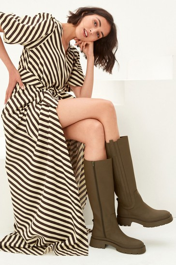 Khaki Green Forever Comfort Chunky Rubberised Knee High Boots