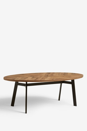 Bronx Chevron Oval 6 Seater Dining Table
