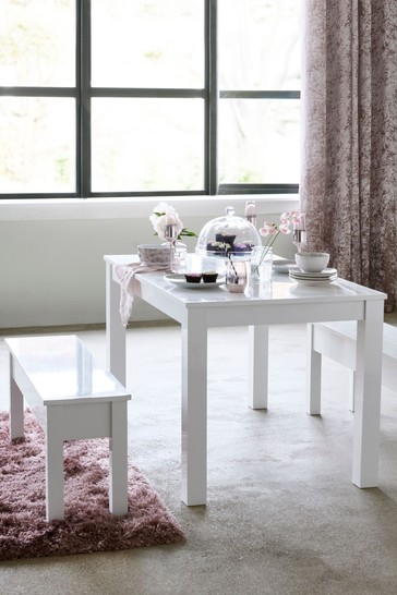 White Gloss 4 Seater Bench Set