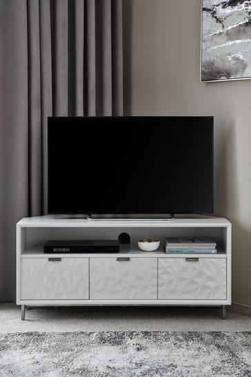 Mode White Textured Corner TV Stand