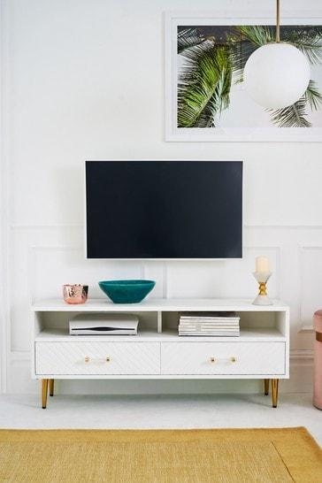 White Textured Wide TV Unit
