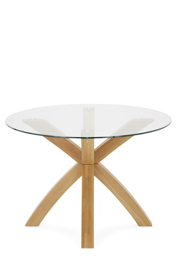 Oak Glass Round Dining Table From, Round Glass And Oak Dining Table