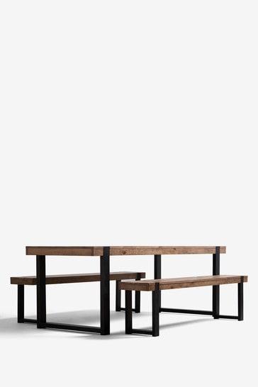 Jefferson Rustic 6 Seater Bench Set