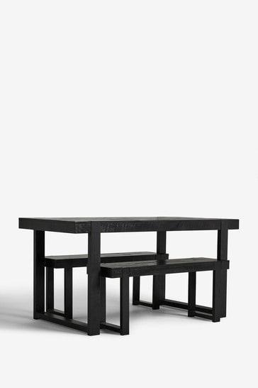 Black Jefferson Rustic 4 Seater Bench Set