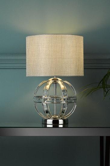 Chrome Aidan Glass 3 Light Globe Table Lamp