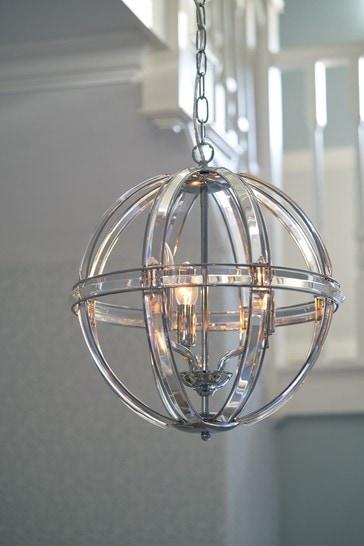Aidan Glass Polished Chrome 3 Light Globe Chandelier