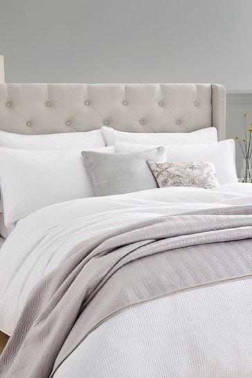 White Phoebe Waffle Duvet Cover and Pillowcase Set