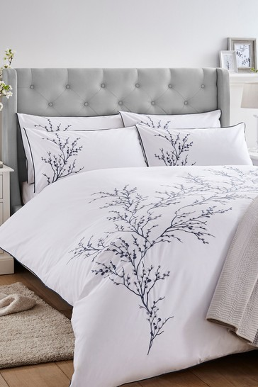 Midnight Pussy Willow Sprig Embroidered Duvet Cover And Pillowcase Set