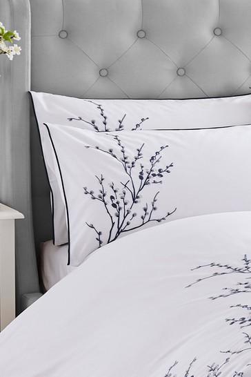 Set of 2 Laura Ashley Midnight Pussy Willow Sprig Embroidered Pillowcases