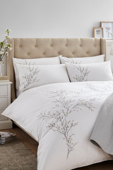 Dove Grey Pussy Willow Sprig Embroidered Duvet Cover And Pillowcase Set