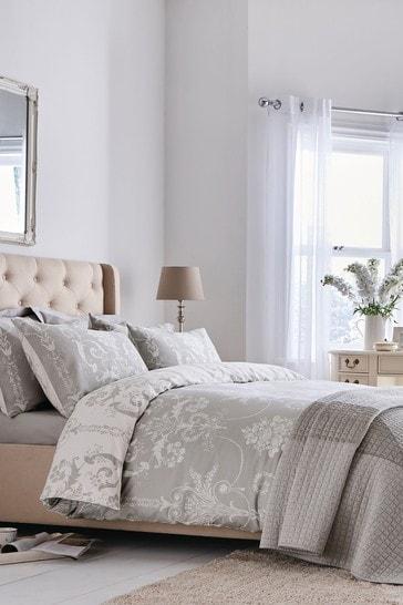 Laura Ashley Dove Grey Josette Duvet Cover and Pillowcase Set