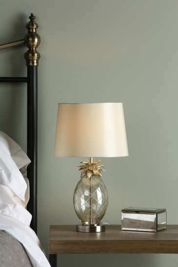 Gold Pineapple Cut Glass Table Lamp With Large Shade