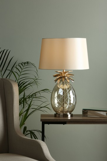 Champagne Pineapple Table Lamp With Ivory Shade