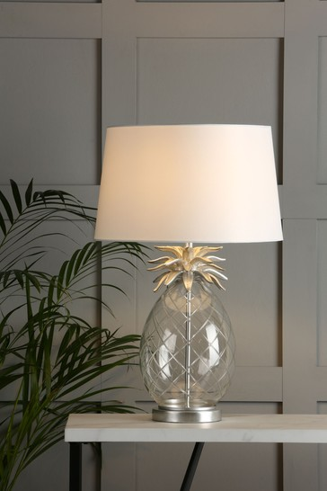 Clear Pineapple Table Lamp With Ivory Shade