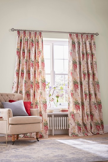 Laura Ashley Cranberry Wisteria Pencil Pleat Curtains