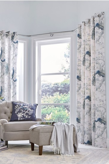 Laura Ashley Midnight Belvedere Eyelet Curtains