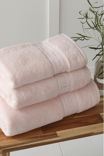 Laura Ashley Blush Luxury Cotton Embroidered Towel