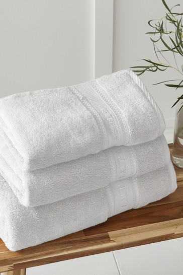Laura Ashley White Luxury Cotton Embroidered Towel