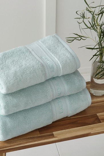 Laura Ashley Duck Egg Luxury Cotton Embroidered Towel