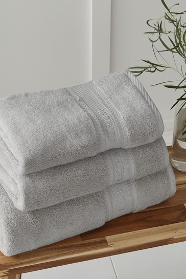 Laura Ashley Steel Luxury Cotton Embroidered Towel