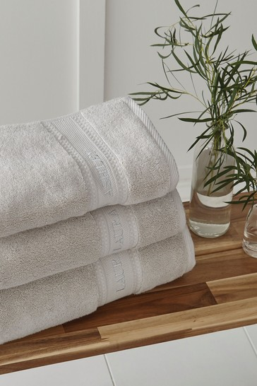 Laura Ashley Dove Grey Luxury Cotton Embroidered Towel