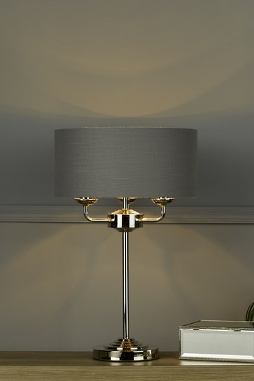 Laura Ashley Charcoal Sorrento 3 Light Table Lamp With Shade