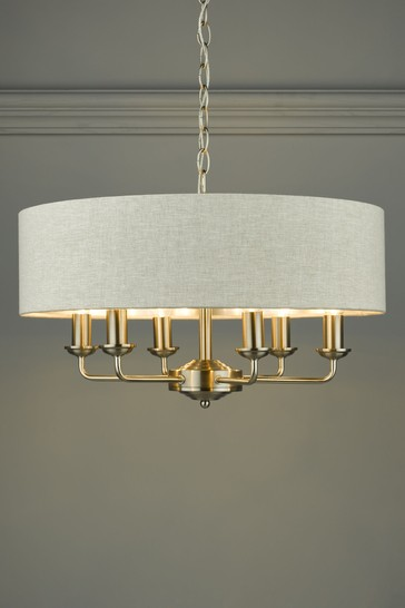 Chrome Sorrento 6 Light Armed Fitting Ceiling With Shade