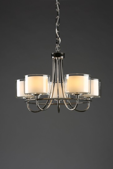 Chrome Southwell 5 Light Chandelier and Glass Shades