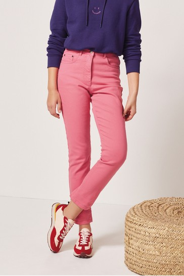 Bright Pink Womens Mom Jeans