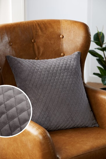 Charcoal Grey Velvet Quilted Hamilton Square Cushion