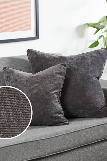 Charcoal Grey Soft Velour Small Square Cushion