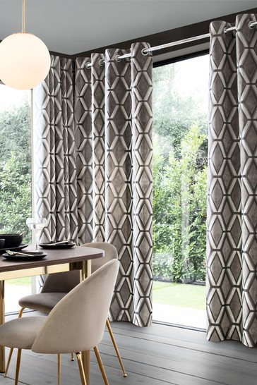 Grey Geo Cut Velvet Collection Luxe Eyelet Curtains
