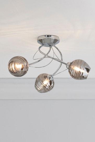 Chrome Drizzle 3 Light Flush Ceiling Light