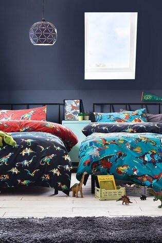 2 Pack Splatter Dinosaur Reversible Duvet Cover And Pillowcase Set